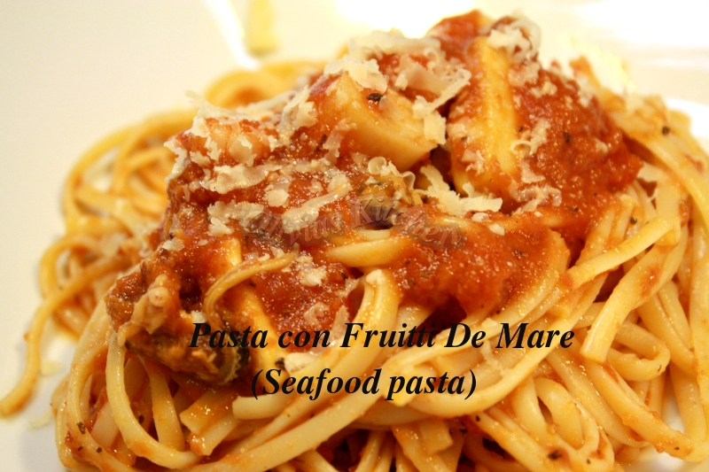 Pasta con Fruitti Di Mare ( Seafood Pasta w/ simple tomato sauce ...