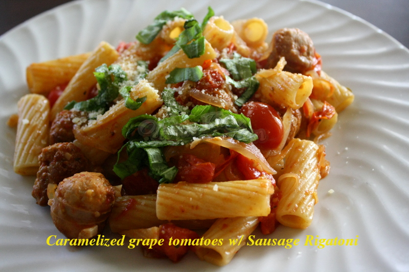 Pasta With Caramelized Tomatoes And Sausage Recipe — Dishmaps